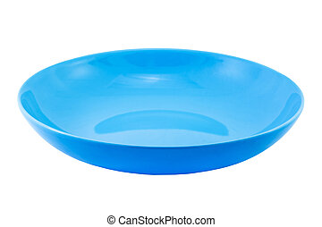 Blue empty plate isolated on white background