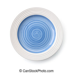 Blue empty plate - Top view of blue empty plate isolated on...