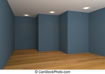 blue empty room - Home interior rendering with empty room ...