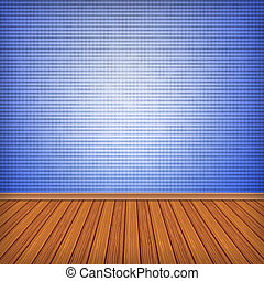 Blue empty room, interior with wallpaper. High resolution texture background.