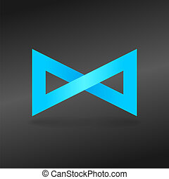 Blue Endless Sign - Shining infinity symbol on dark grey...