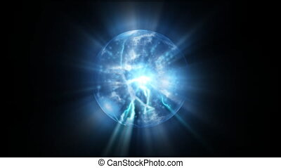 Blue energy abstract of plasma - Blue energy abstract with a...