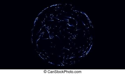 blue energy particles moving randomly in spherical form....