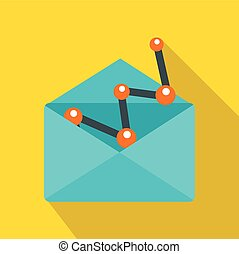 Blue envellope with graph icon, flat style