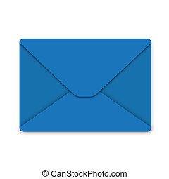 Illustration, envelope from blue paper on white background