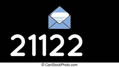 Animation of an opened blue envelope icon with white letter showing and numbers going up to fifty thousand on a black background 4k