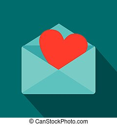 Blue envelope with red heart icon, flat style