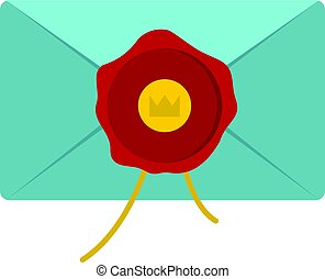 Blue envelope with red wax seal icon isolated