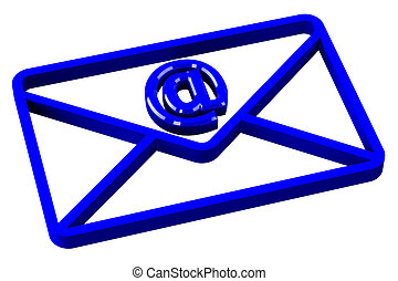 Blue envelope with sign e-mail