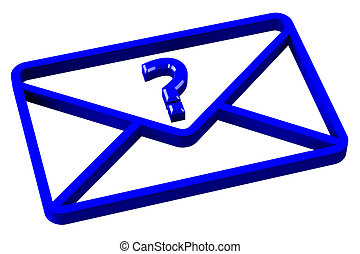 Blue envelope with sign question mark