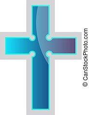 Blue Episcopal Cross vector religion illustration on a white background