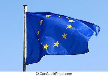 EU flag - blue EU flag blowing in the wind