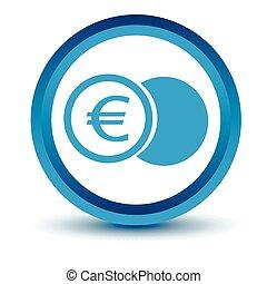 Blue euro coin icon
