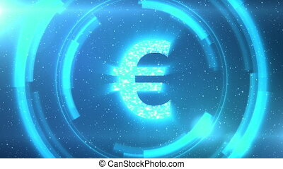 Blue euro currency symbol on space background with circles. Seamless loop.