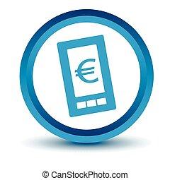 Blue euro phone icon