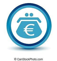 Blue euro purse icon