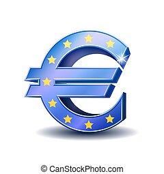 Blue euro sign isolated on white background