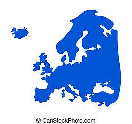 Blue Europe silhouette.