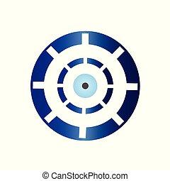 blue evil eye vector isolated on white background