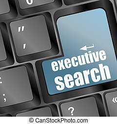 Blue executive search button on the keyboard close-up