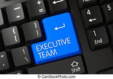 Blue Executive Team Key on Keyboard. 3D.