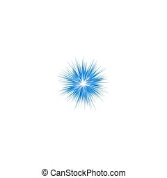 Blue explosion graphic design on white background