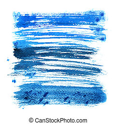 Blue expressive brush strokes isolated over the white backgdound - abstract square frame