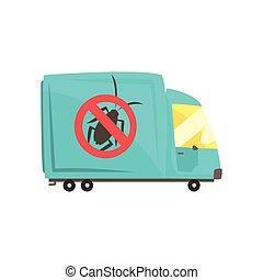 Blue exterminator truck, pest control service cartoon vector illustration