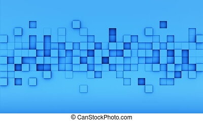 Blue extruded cubes tile 3D render loopable animation