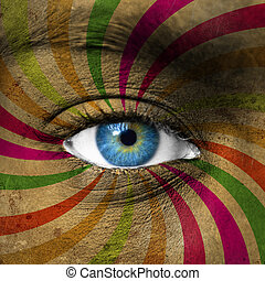 Blue eye and abstract colorful stripes