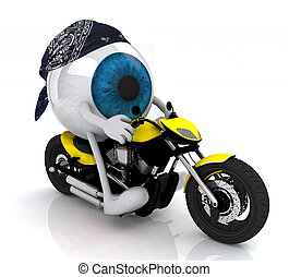 blue eye ball with arms and legs on the motorbike