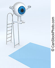 blue eye ball with arms and legs on trampoline dip in the...