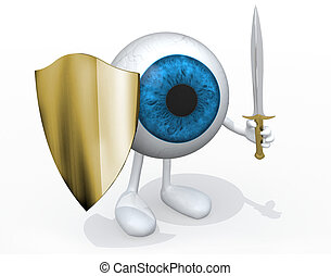 Blue eye ball with sword and shield, 3d illustration