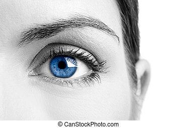 Blue eye - Close-up portrait of a beautiful female blue eye