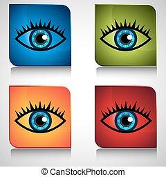 Blue Eye Icon Button