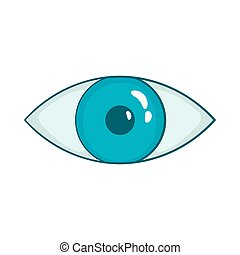 Blue eye icon in cartoon style