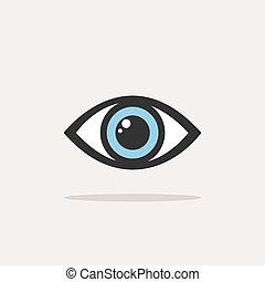 Blue eye icon with shade on a white background