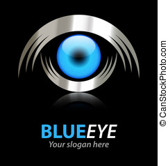 Blue eye vector logo - Design of creative corporate metallic...