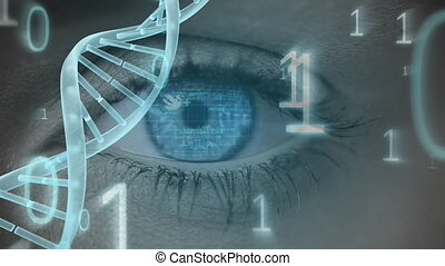 Blue eye with binary code and DNA helix