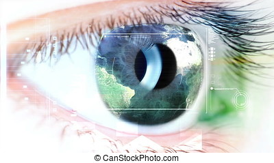 Blue eye with Earth map on iris and tech graphics