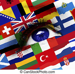 blue eye with european union flag