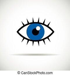 blue eye with eyelashes icon