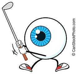 Blue Eyeball Golfer Character - Blue Eyeball Golfer Cartoon...