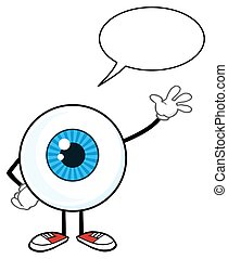 Blue Eyeball Guy With Speech Bubble - Blue Eyeball Guy...