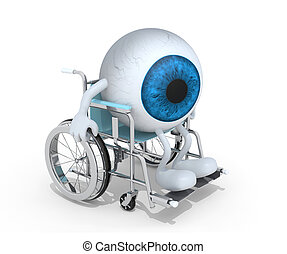 eyeball with arms and legs on a wheelchair