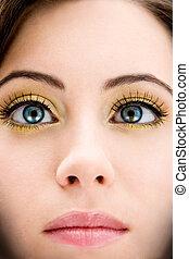 Blue eyed beauty - Face of a beautiful blue eyed brunette