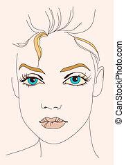 blue-eyed girl's face