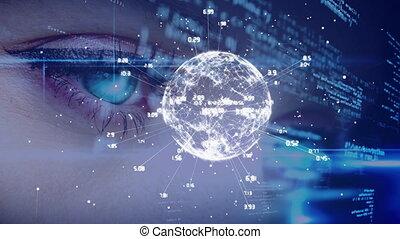 Blue eyed woman looking at codes and digital globe