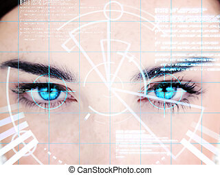 Blue eyed woman with computer interface on face