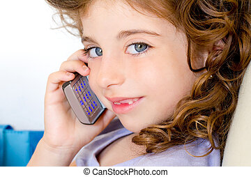 blue eyes child girl talking mobile phone